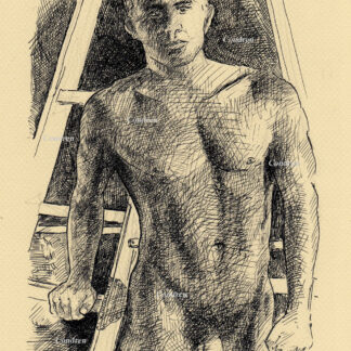 Hot nude male #144A pen & ink drawing by artist Stephen F. Condren with LGBTQ gay prints.