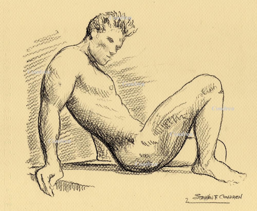 Pencil drawing of a nude male by artist Stephen F. Condren.