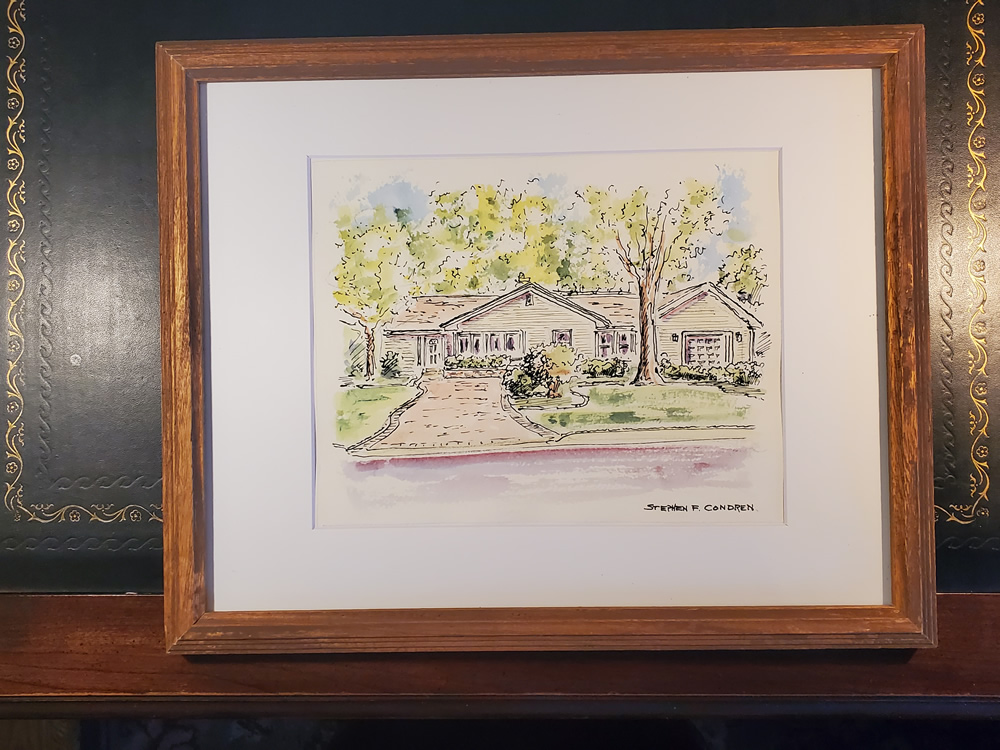 House portrait #630Z watercolor with pen & ink, and scans for Realtor closing gift note cards by artist Stephen F. Condren.