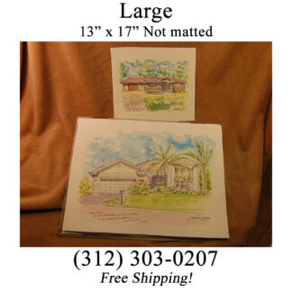 Large unmated house portrait comparing large to small without mat by artist Stephen F. Condren.