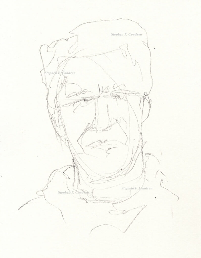 Jeffrey Epstein #612Z, a pedophile sex offender, pencil drawing by artist Stephen F. Condren.