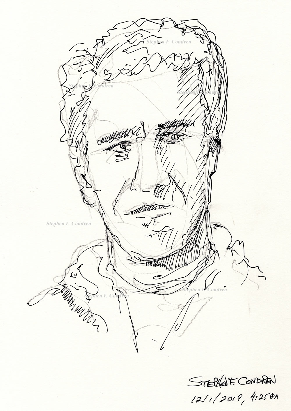 Jeffrey Epstein #612Z, a pedophile sex offender, pen & ink drawing by artist Stephen F. Condren.