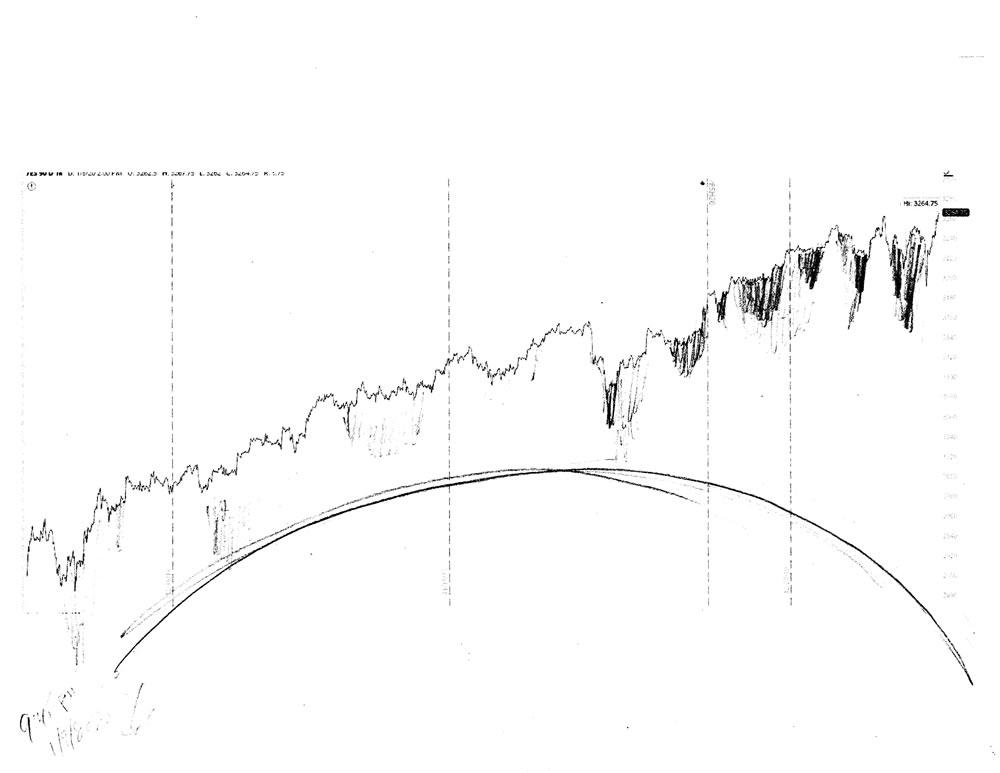 Stock market architecture #638Z or stock market forecast charts by artist Stephen F. Condren.