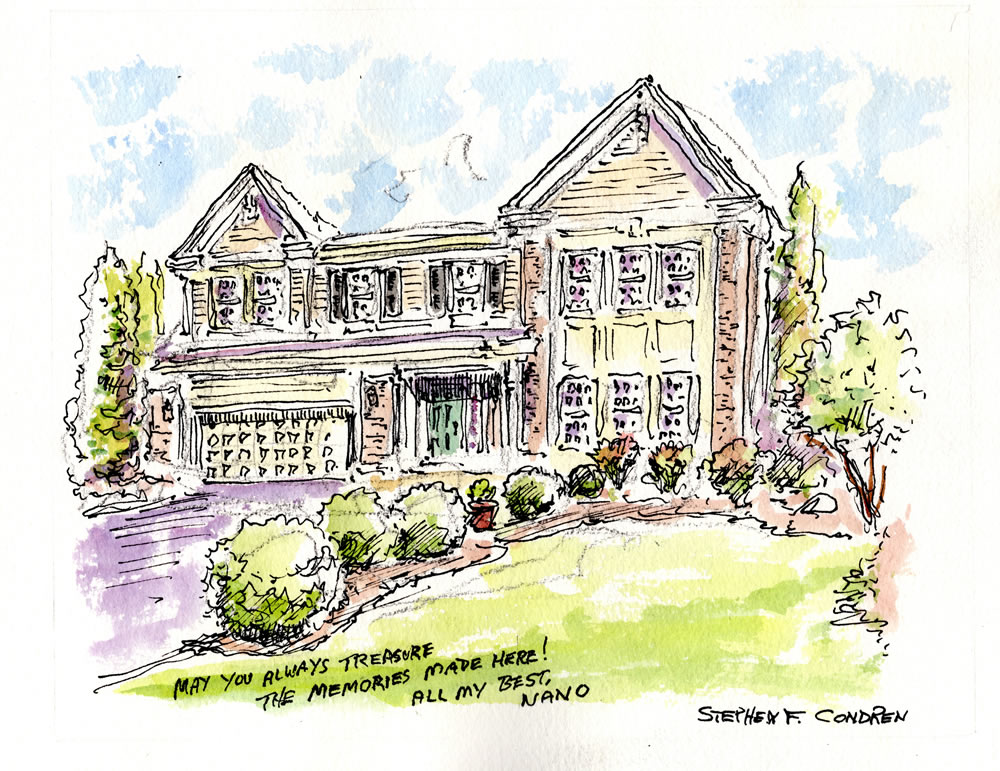 House portrait #632Z watercolor with pen & ink, and scans for Realtor closing gift note cards by artist Stephen F. Condren.