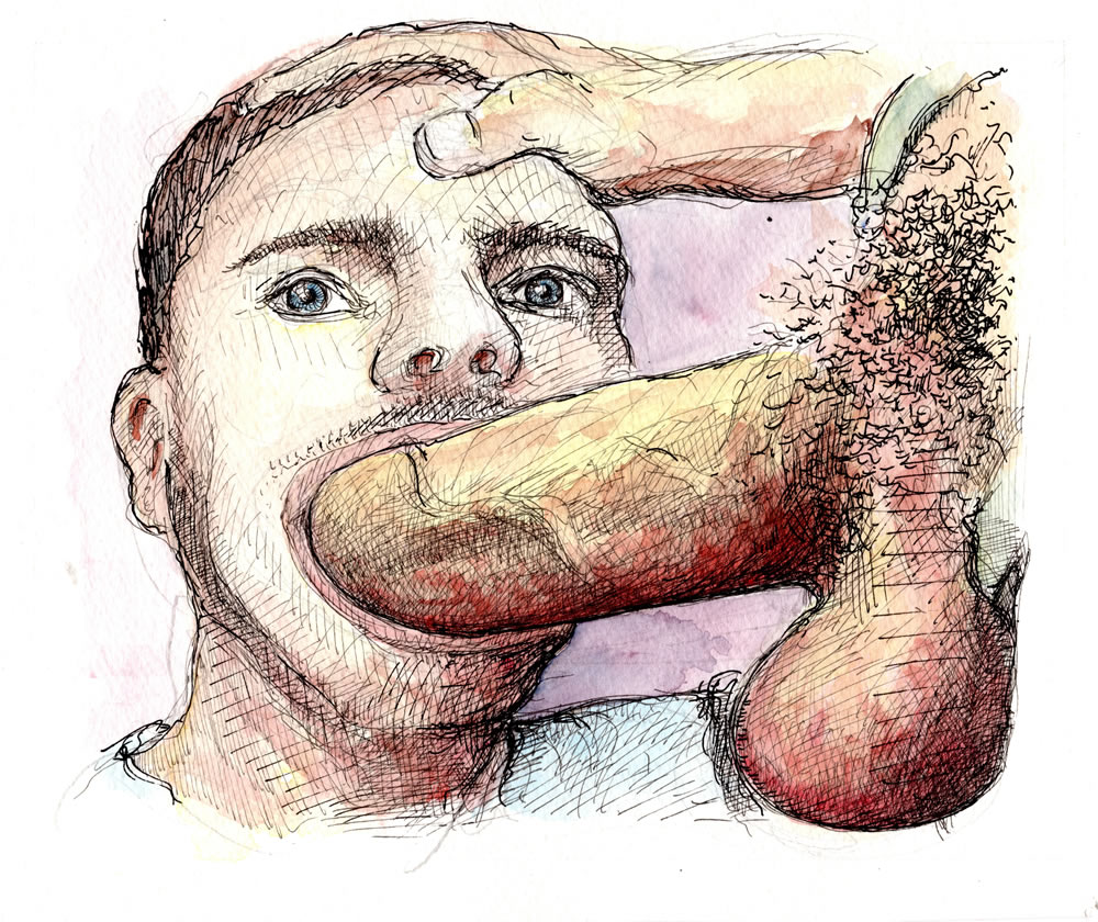 Deep Throat gay porn watercolor drawing of a cock sucking boy on a large hard penis.