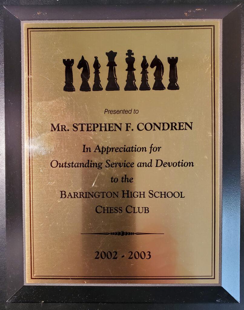 Barrington High School Chess Club Plaque. #665Z