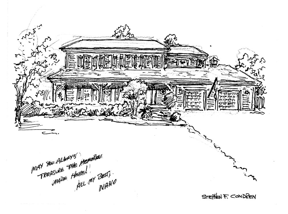 House portrait #667Z pen & ink with scans for Realtor closing gift note cards by artist Stephen F. Condren.