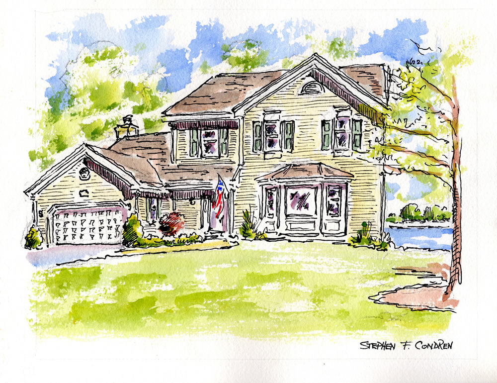 House portrait #668Z watercolor with pen & ink, and scans for Realtor closing gift note cards by artist Stephen F. Condren.