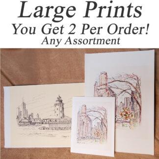 Large prints of skylines and landmarks.