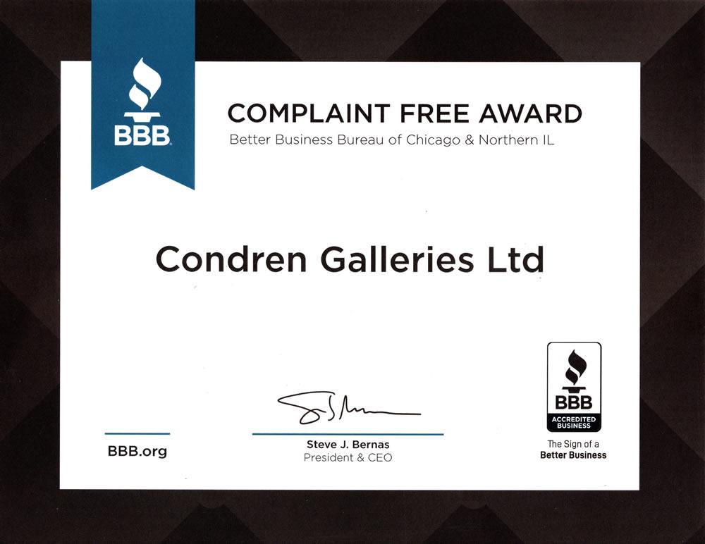 Better Business Bureau Complaint Free Award.