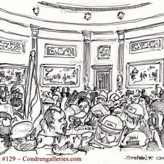 Terrorists battle Capital Police pen & ink insurrectionist drawing of rioters fighting police in the Capital Building Rotunda.