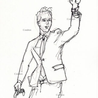 Senator Josh Hawley pen & ink drawing raising fist.