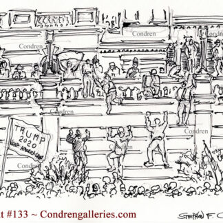 Climbing Capital Building walls! #133A, pen & ink terrorist drawing of rioters climbing to break in.
