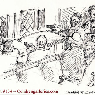 Gunmen in Senate Chamber pen & ink drawing with police officers of the Capital Building.