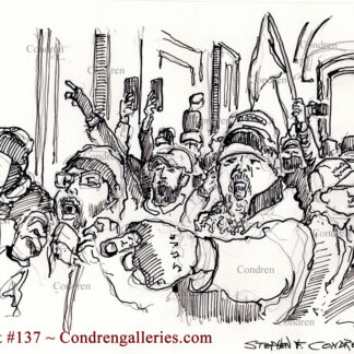 Storming the Capital Building is a pen & ink terrorist drawing of a rancorous mob entering the halls, yelling, jeering.