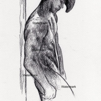 Naked cowboy #437A charcoal pencil figure drawing with him wearing a 10-gallon hat leaning on a post.