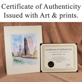 Certificate of Authenticity with Art print.