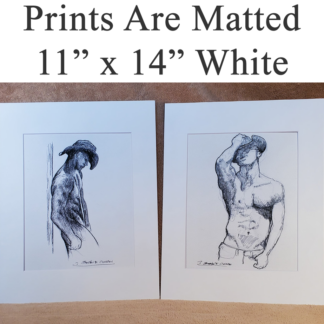 White matted print copy of male figure drawing by artist Stephen Condren.
