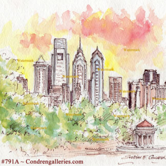 Philadelphia skyline sunset pen & ink watercolor by artist Stephen Condren