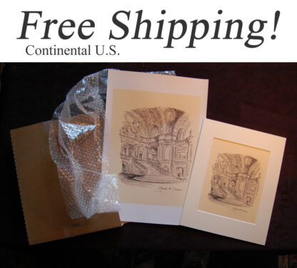 Shipping box with landmark, cityscape, and city scene prints.