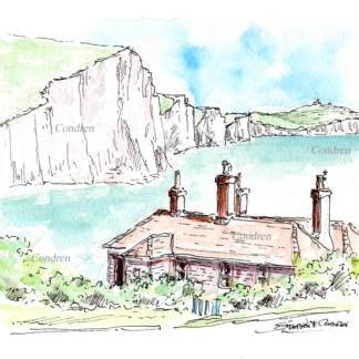 Cliffs of Dover #25A pen & ink seascape watercolor overlooking the sea from a small cabin in the foreground.