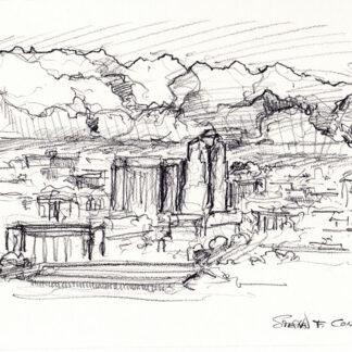 Tuscon Skyline Pencil Drawings