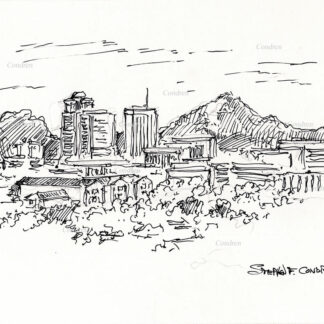 Tucson skyline #28A pen and ink cityscape drawing with a view of the mountains and skyscrapers.