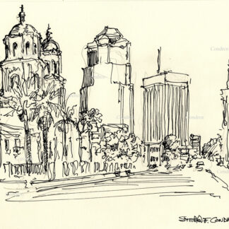 Tucson downtown #29A pen & ink cityscape drawing with detailed images of the streets and buildings.