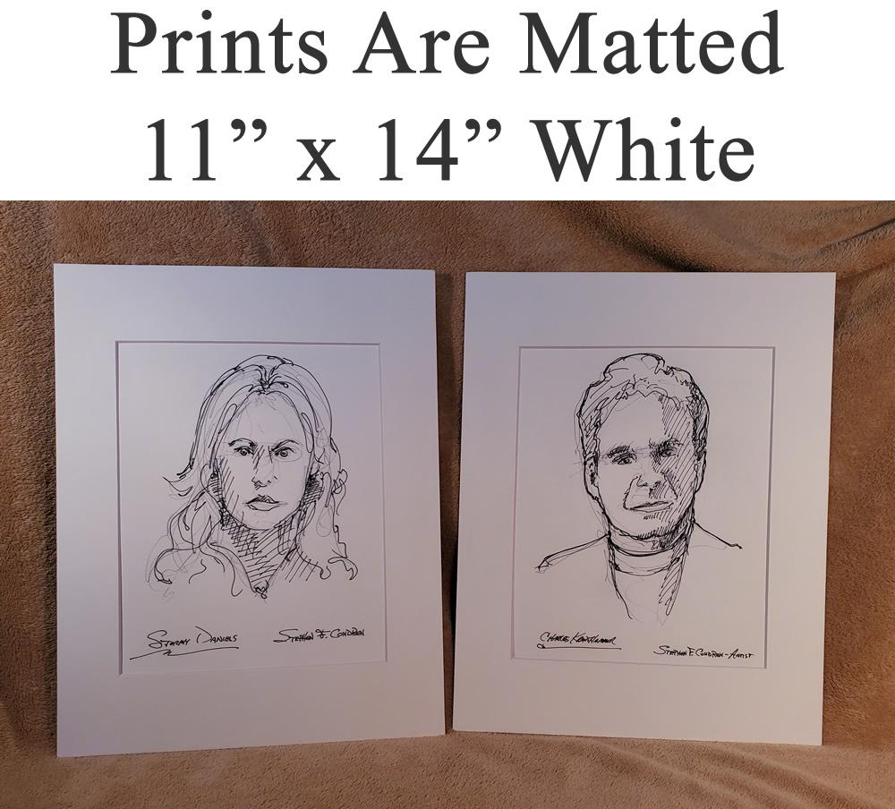 White matted celebrity prints by artist Stephen Condren.