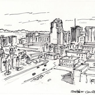 Tucson skyline #32A pen & ink cityscape drawing with an aerial view of the downtown showing all the details of the buildings.