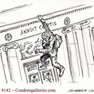Storming Capital Senate Chamber pen & ink terrorist drawing of Josiah Colt hanging from balcony inside the Senate Chamber.