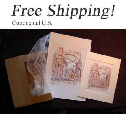 Shipping box with skyline, city scene, and cityscape prints.