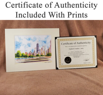 Certificate of Authenticity with skyline and cityscape prints.