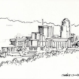 Tucson skyline #31A pen & ink cityscape drawing with dark contour lines to make the image of the skyscrapers and mountains.