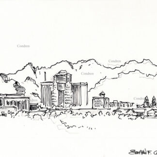 Tucson skyline #33A pen & ink cityscape drawing with contour lines to delineate the mountains.