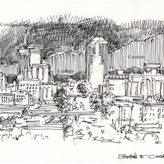 Tucson skyline #34A pen & ink cityscape drawing of the downtown area at nighttime.