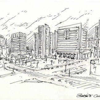 Tucson skyline #35A pen & ink cityscape drawing with a very detailed view of the downtown area at night.