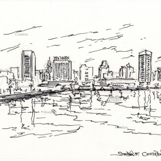 Baltimore skyline #36A pen & ink cityscape drawing with skyscraper reflections in the waters of the Inner Harbor.