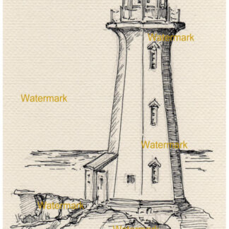 Peggy's Cove Lighthouse pen & ink landmark drawing.