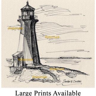 Peggys Cove Lighthouse pen & ink landmark drawing.