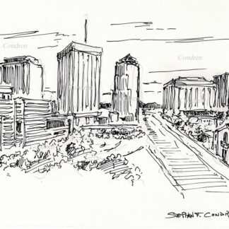 Tucson skyline #30A pen & ink cityscape drawing with detailed views of downtown.