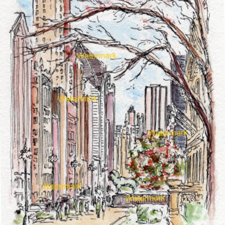 Chicago Michigan Avenue #1084A pen & ink city scene watercolor of downtown in front of the Art Institute.