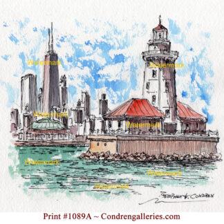 Chicago Harbor Lighthouse #1089A pen & ink landmark watercolor with views of the John Hancock Center, Navy Pier.