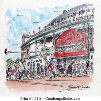 Chicago Wrigley Field #1111A pen ink landmark watercolor of Cub's fans enter under the famous baseball park sign.