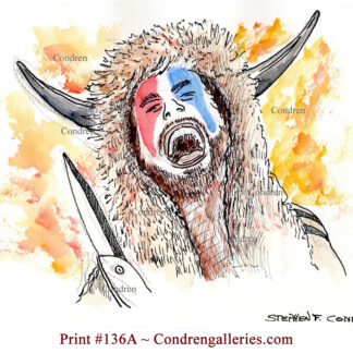 Capital riot bison man pen & ink, watercolor, terrorist portrait of Jacob Chansley, QAnon Shaman member, and rioter.