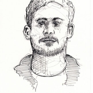 Capital rioter Eric Munchel pen & ink portrait AKA Zip-Tie Guy.
