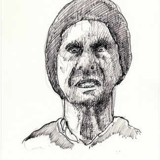 The Psychotic 147A pen & ink maniac portrait with intense cross-hatching for shading and shadows.