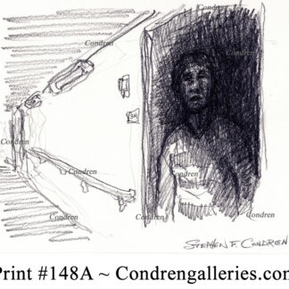 Out From Darkness 148A pencil predator drawing of Timothy Foley lurking at his door in the dark.