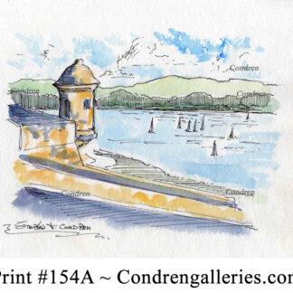 Puerto Rico 154A pen & ink watercolor seascape by Stephen Condren.