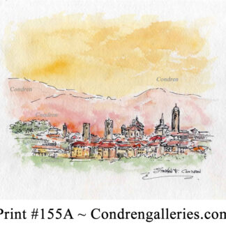 Italian landscape 155A pen & ink sunset watercolor with a view of the Alps.
